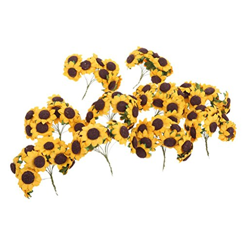 Sunflower Bouquets Bridal (100pcs Artificial Flower Sunflower Bouquet for Home Wedding Decoration)