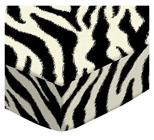 SheetWorld Extra Deep Fitted Portable Mini Crib Sheet - Zebra - Made In USA by SHEETWORLD.COM