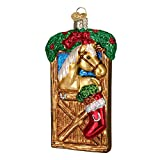 Old World Christmas Glass Blown Ornament with S-Hook and Gift Box, Animal Collection (Horse In Stall)