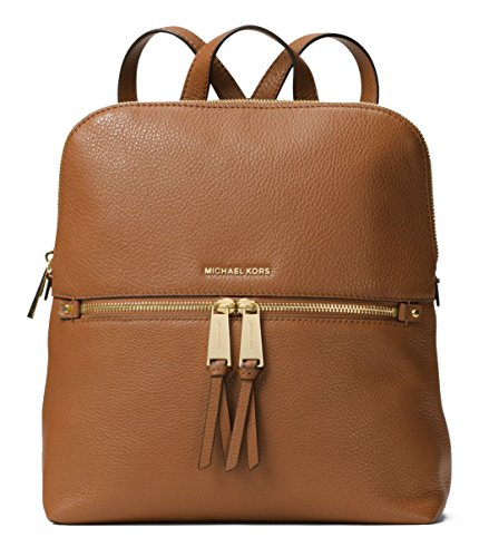 MICHAEL Michael Kors Rhea Zip Medium Slim Backpack (Acorn) by Michael Kors