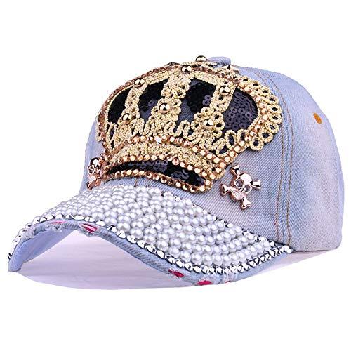 2019 New Crown Diamond Diamond Embroidery Cowboy Hat Baseball Cap Outdoor Fashion Leisure Adjustable (Color : 1)