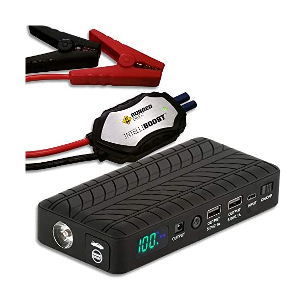 Rugged Geek RG1000 Portable Lithium Booster Pack Jump Starter and Power Supply with...
