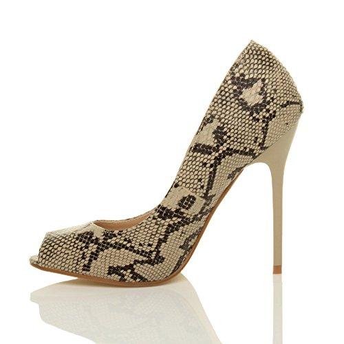 Ajvani Zapatos de tacón para mujer, puntera abierta estilo peep toe Beige - Beige / Black Snake