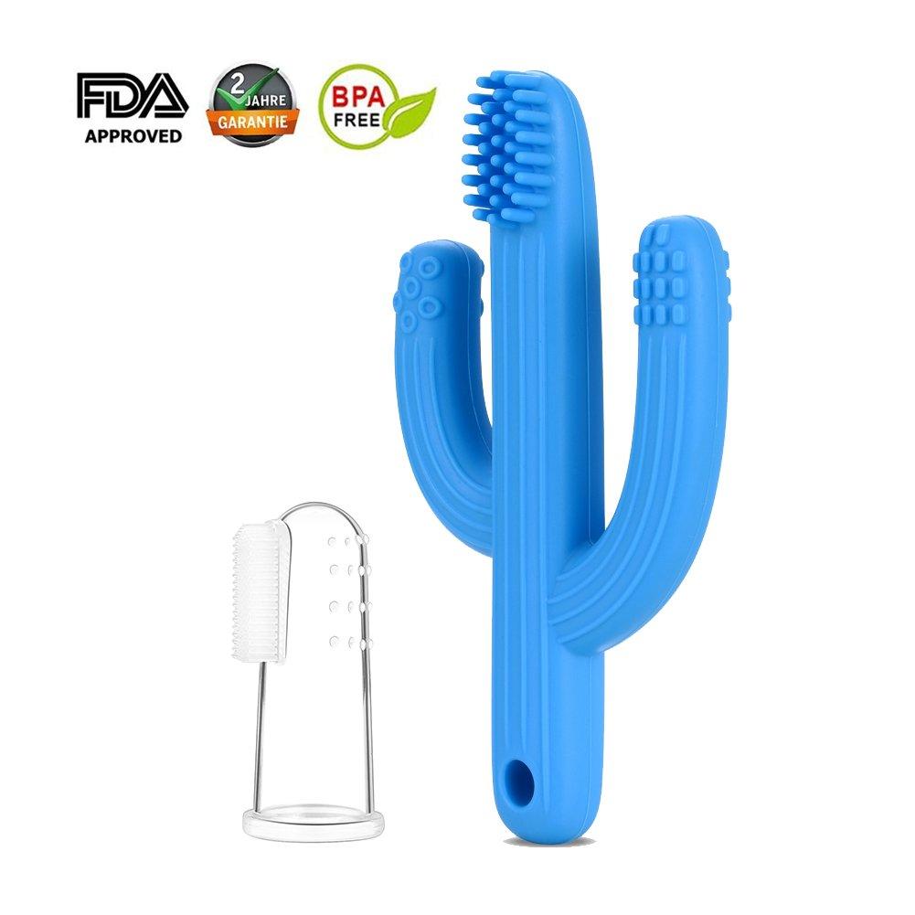 Mr.Van Anneau Dentition bebe, Cactus Jouet de dentition et silicone 100% sans BPA (Bleu)