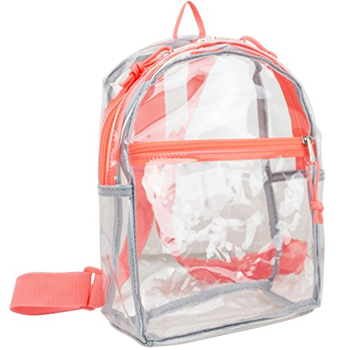 Eastsport 100% Transparent Clear Mini Backpack with Adjustable Straps, Clear/Coral (Clear Body Lightweight)