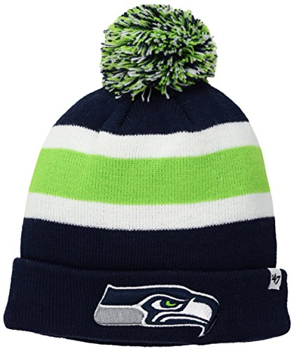 [NFL Seattle Seahawks '47 Brand Breakaway Cuff Knit Hat with Pom, Light Navy, One Size] (Team Knit Hat)