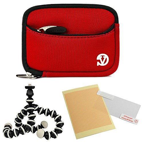 VanGoddy Mini Glove Sleeve Pouch Case for Leica C-LUX 3 V-Lux 20 Leica C (Typ112) Digital Cameras (Red)+ Screen Protector + Mini Tripod Stand