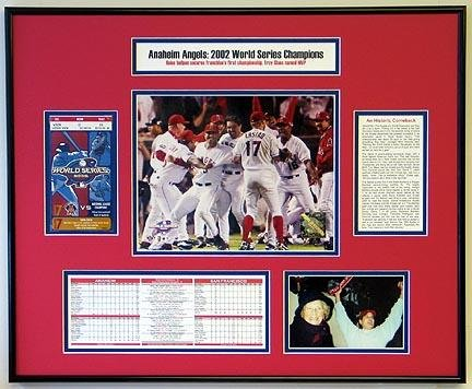 World Series Ticket Frame - 2002 World Series Anaheim Angels Ticket Frame - Includes Statistics and Game Photograph
