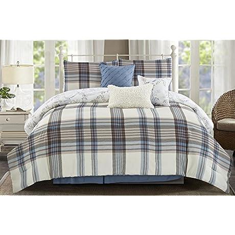 Wonder Home Clemente 7PC Yarn Dye Print Comforter Set Queen Beige