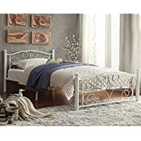 Merax Stylish Design Solid Metal Platform Bed Frame with Headboard and Footboard White (Full)