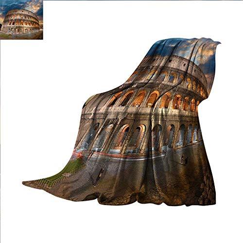 (smallbeefly Italian Decor Digital Printing Blanket View of Colosseum Under Autumn Sunset in Rome Italian Landmark Historical Print Summer Quilt Comforter 62