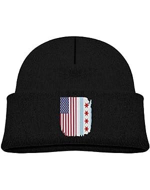 Warm Chicago American Flag Printed Baby Boy Girls Winter Hat Beanie