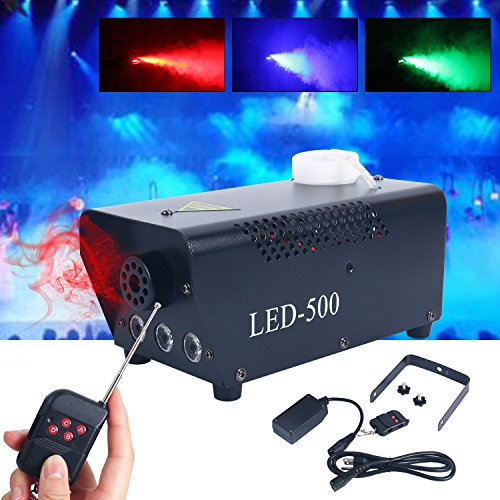 500W Wireless Remote Control Portable Christmas and Party Fog Machine with Built-In Colored LED Lights for Holidays, Weddings - impressive output -