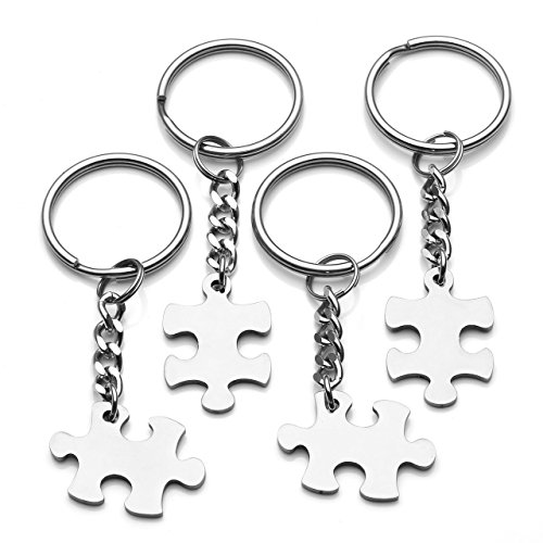 Jovivi 4pcs Silver Stainless Steel Puzzle Piece Keychain Couples Matching Jewelry Set - Valentines Day Best Friend Gift