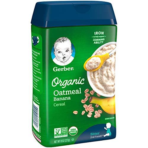 51GV00WcO0L - Gerber Baby Cereal Organic Oatmeal With Banana, 8 Oz