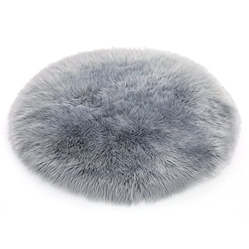 SONGMICS Super Soft Thick Faux Fur Rug, Faux Sheepskin Area Rug for Living Room Bedroom Dormitory Home Decor, Photo Prop, Diameter 3 Feet, Gray URFR91GY by SONGMICS (Image #8)