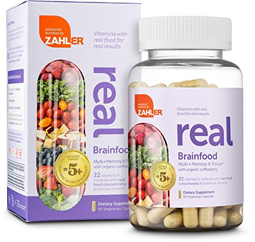Zahler Real, Advanced Multivitamin for Women and Men, Real Food Based Multivitamin with Zinc, Vitamin C, Vitamin D3 and More, Certified Kosher (Brainfood)