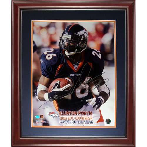 Clinton Portis Autographed Denver Broncos (Rookie Of Year) Deluxe Framed 16x20 (Portis Autograph)