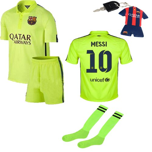 innovative design e3b6c f3223 Barcelona Kids Jersey 2014/2015 Fc Barcelona Third Lime Green Lionel Messi  (10) Football Soccer Kids Jersey & Shorts with Socks and Free Key Chain for  ...