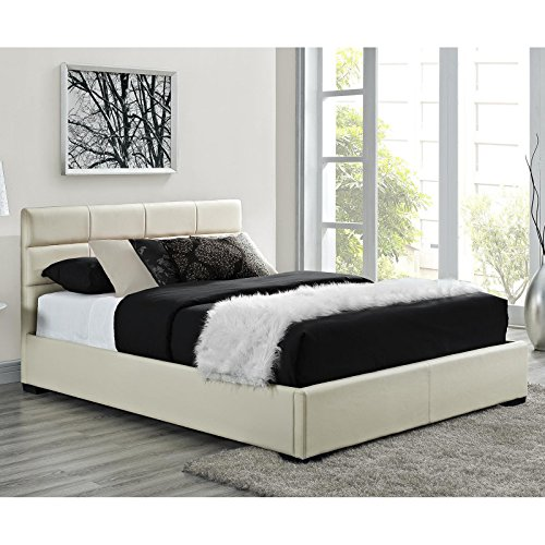 Modern Queen Size Upholstered Tufted Platform Bed, Cream, Bedroom Furniture, Woodn Frame, Faux Leather Headboard, Made from Wood, Design, Bundle with Our Expert Guide with Tips for Home Arrangement (Cream Leather Headboard)