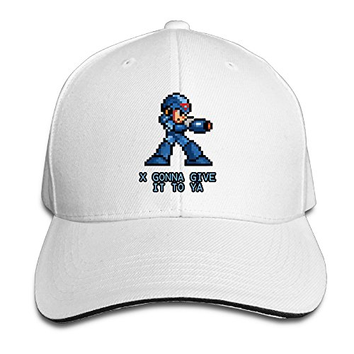 [Pro-Style I Gonna Give It To Ya Megaman Sandwich Peak Hats Adults Cap White] (Megaman Hat)