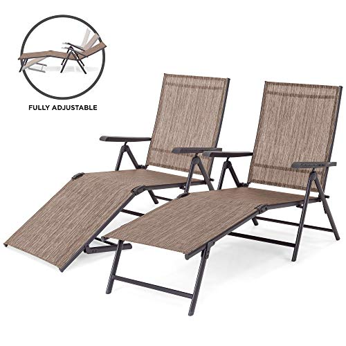 Best Choice Products Set of 2 Outdoor Adjustable Folding Chaise Reclining Lounge Chairs for Patio, Poolside, Deck w/Rust-Resistant Steel Frame, UV-Resistant Textilene, 4 Back & 2 Leg Positions