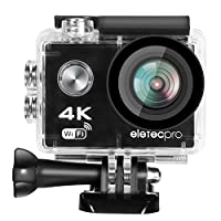 EletecPro Action Kamera, WiFi Sports Camera 4K 170° Weitwinkel Helmkamera 30M Wasserdicht 16MP 2'' LCD Touch Screen 2.4G Fernbedienung 20 weitere Zubehör Kits für Tauchen/Klettern / Schwimmen