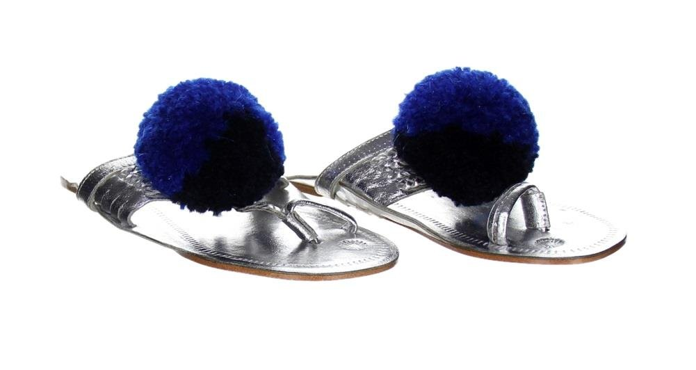 Figue for J Crew Leo Pom-Pom Pink Sandals Silver Size 7 Style G4539