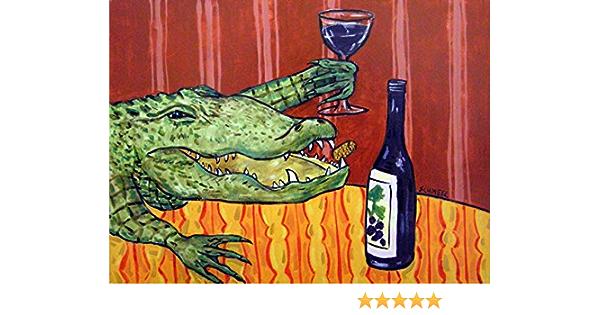 alligator at the wine bar animal art giclee print archival animal decor wall art