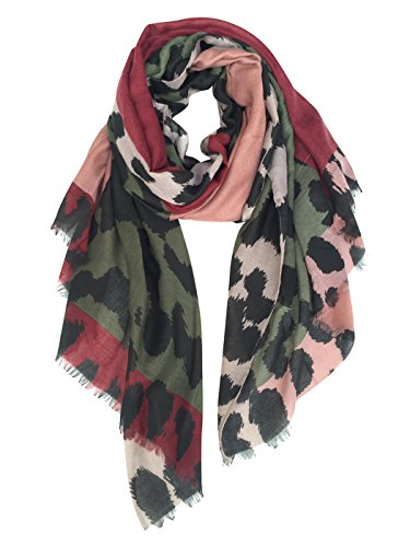 Leopard Scarf (GERINLY Women's Scarves: Colorful Leopard Print Oblong Wrap Scarf (Dark Scarlet))