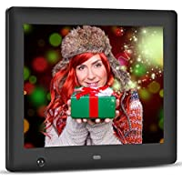 Apzka 8-Inch HD Digital Photo Frame with Motion Sensor & Auto-rotate Function, MP3 Photo Video & Music Playback, Calendar with 2GB Internal Memory & Remote Control (Black)