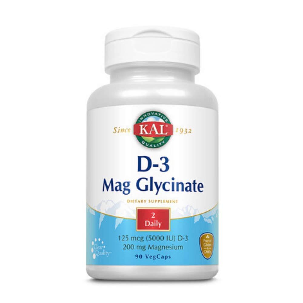 Kal 5000 Iu Vitamin D-3 Mag Glycinate, 90 Count