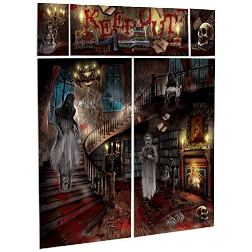 Gothic Halloween Haunted House Mansion Party Scene Setter Wall Decorating Kit]()