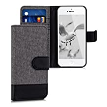 kwmobile Wallet case canvas cover for Apple iPhone SE / 5 / 5S - Flip case with card slot and stand in grey black