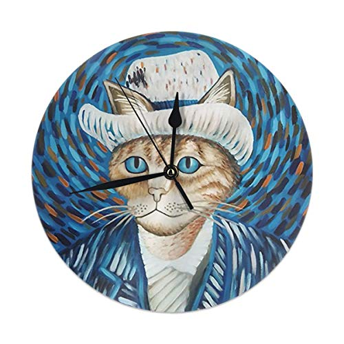 Fullboxy Self Portrait of Cat Art Clock Circular UV Print Frameless Cover Wall Clock with Organic Plastic Material Battery Operated ()