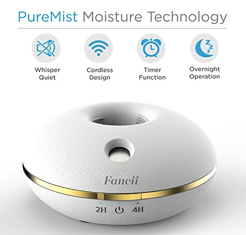 Fancii Cool Mist Personal Mini USB or Battery Operated Portable Travel Humidifying Device for use with Water Bottles, White