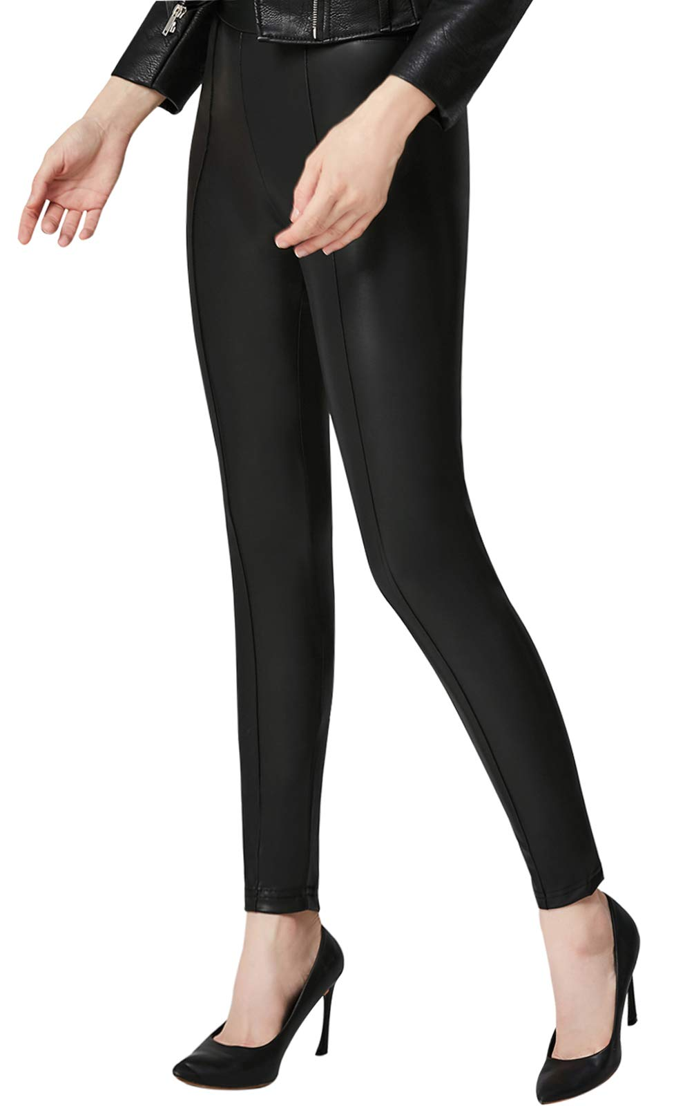Everbellus High Waisted Faux Leather Leggings for Women Sexy Black Leather Pants X-Large by Everbellus (Image #4)