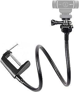 "Etubby Adjustable 26"" Gooseneck Desktop Webcam Stand Holder Flexible Jaw Camera Desk Clamp Mount for Logitech Webcam C925e, C922x, C922, C930e, C930, C920, C615 and More (1/4"" Threaded)"