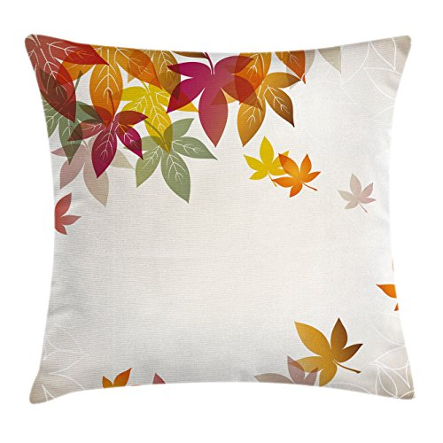 Fall Decorations Throw Pillow Cushion Cover by Ambesonne, Silhouettes of Maple Tree Leaves in Pastel Classical Shady Nature Graphic Image, Decorative Square Accent Pillow Case, 20 X 20 Inches, Multi (Shady Tree Studio)