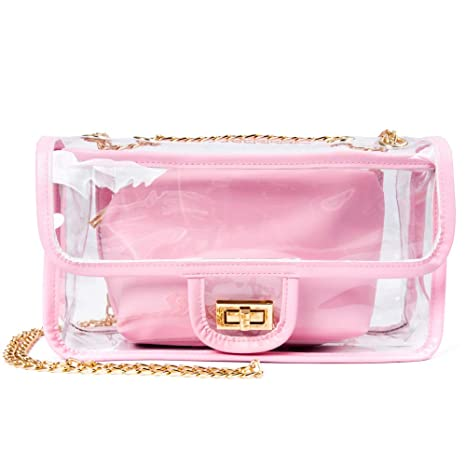 0cc32a54cea5 Clear Purse Stadium Approved, iSPECLE Women Transparent PVC Durable Clear  Shoulder Bag Crossbody Bag Stadium Approved Handbags Pink