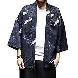 Men Japanese Flying Crane Kimono Coat Loose Cardigan Jacket Top (2, US XS/Asia M: Bust 106cm/41.73'')