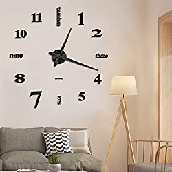 Vangold Frameless DIY Wall Clock, 2-Year Warranty 3D Mirror Wall Clock Large Mute Wall Stickers for Living Room Bedroom Home Decorations (Black-14)