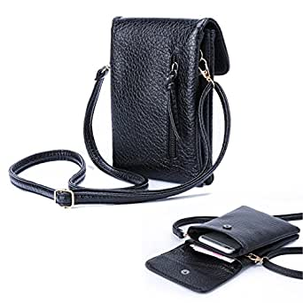 Women premium leather Crossbody Bag cellphone wallet purse with shoulder strap for iphone Sumsung galaxy note + Nail Clipper
