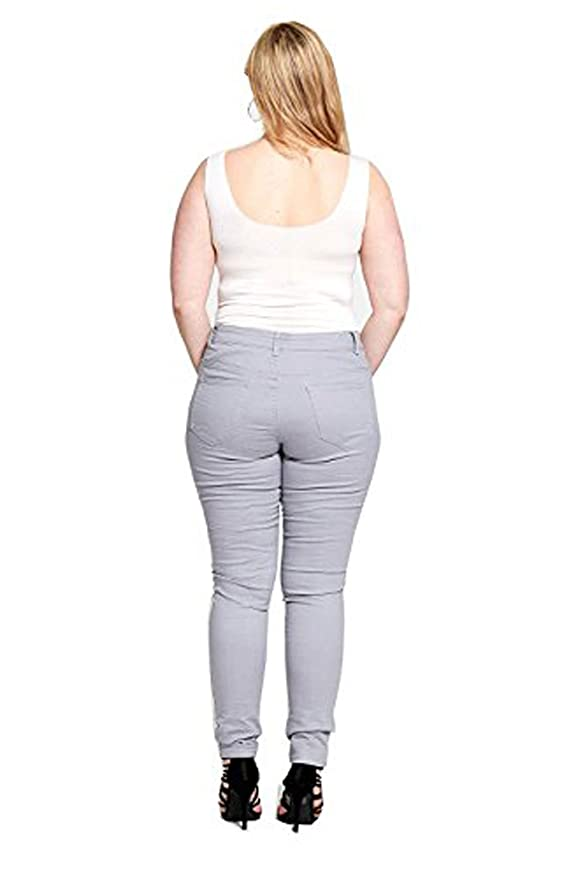 Divadames Womens Curves Distressed Panel Skinnies Ladies Grey Plus Size  Jeans Size UK 10 - 20: Amazon.co.uk: Clothing