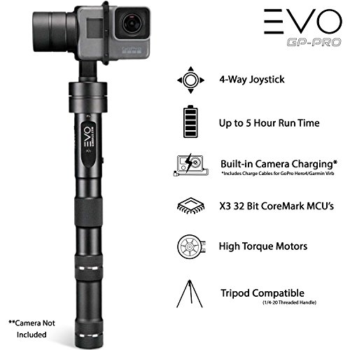EVO GP-PRO 3 Axis Gimbal GoPro Stabilizer for Hero4, Hero5 or Hero6 Black & Virb Ultra 30 Action Cameras - 1 Year US Warranty | Includes: EVO GP-PRO + GS-75 Tripod