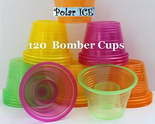 Plastic Power Bomber Shot Cups or Jager Blaster Bomb Glasses (Package of 120, Assorted Neon - Soft Plastic) -