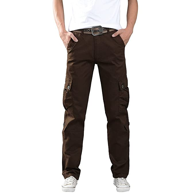 Gusspower Pantalones Largos Cargo para Hombre, Pantalones Deportivos Personalidad Color sólido con Multi-Bolsillo