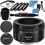 Canon EF 50mm f/1.8 STM Lens 0570C002 + 49mm Macro Close Up Kit + Lens Cleaning Kit + Lens Pouch + Lens Pen Cleaner + Fibercloth Bundle