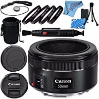 Canon EF 50mm f/1.8 STM Lens 0570C002 + 49mm Macro Close Up Kit + Lens Cleaning Kit + Lens Pouch + Lens Pen Cleaner + Fibercloth Bundle