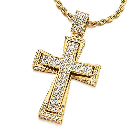COOLSTEELANDBEYOND Mens Womens Large Steel Cross Pendant Gold Color Necklace with Cubic Zirconia, 30 inches Wheat Chain